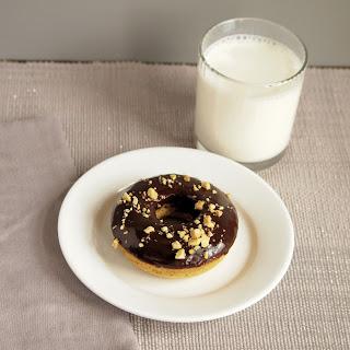 Roasted Peanut Donuts with Chocolate Glaze.