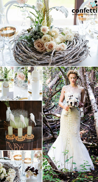 "Photo: Woodland may be one of this year's best trends! You need only see how pretty and mysterious it looks to know why!  Find all of the shown items and more in our shop at Confetti.co.uk (particularly in the Woodland theme.)  Items featured above include (in no particular order):  - Artificial Birth Tree Centrepieces - ""Perching"" White Ceramic Birds - Woodland Pretty Personalised Monogram Antler Textured Rubber Stamp - Round Cork Coasters - White Glass Bottle Décor Set - Woodland Pretty Diecut Sticker - Blown Glass Votive Candle Holder with Lamp Silhouette  ~~~~~~~~~~~~~  #wedding   #woodland   #theme   #themes   #weddingthemes   #weddingtheme   #woodlandweddingtheme   #weddingcentrepieces   #centrepieces   #personalised   #inspiration   #weddinginspiration   #weddingaccessories   #accessories   #outdoor   #forest   #mystery"
