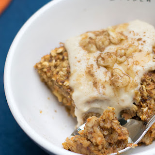 "Vegan Baked Orange Carrot Cake Oatmeal topped with Nancy's Cultured Soy Vanilla ""Icing""."