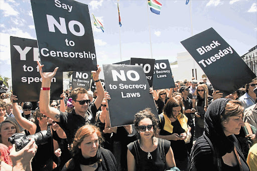 Protesters in front of parliament before the National Assembly passed the secrecy bill this week Picture: SHELLEY CHRISTIANS