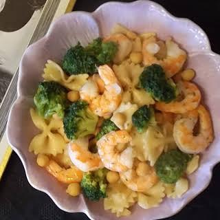 Shrimp with Farfalle and Broccoli Salad.