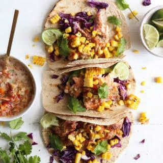 Salmon Tacos + Homemade Salsa.