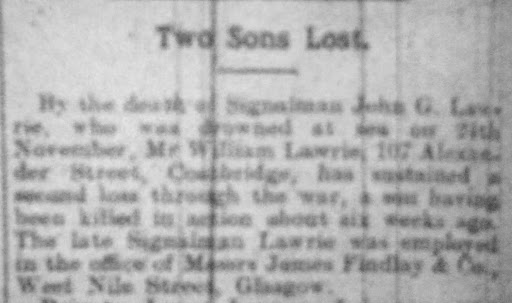 John Gibb Lawrie newspaper clipping