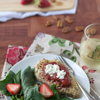 Pecan Crusted Chicken with Strawberries and Goat Cheese.