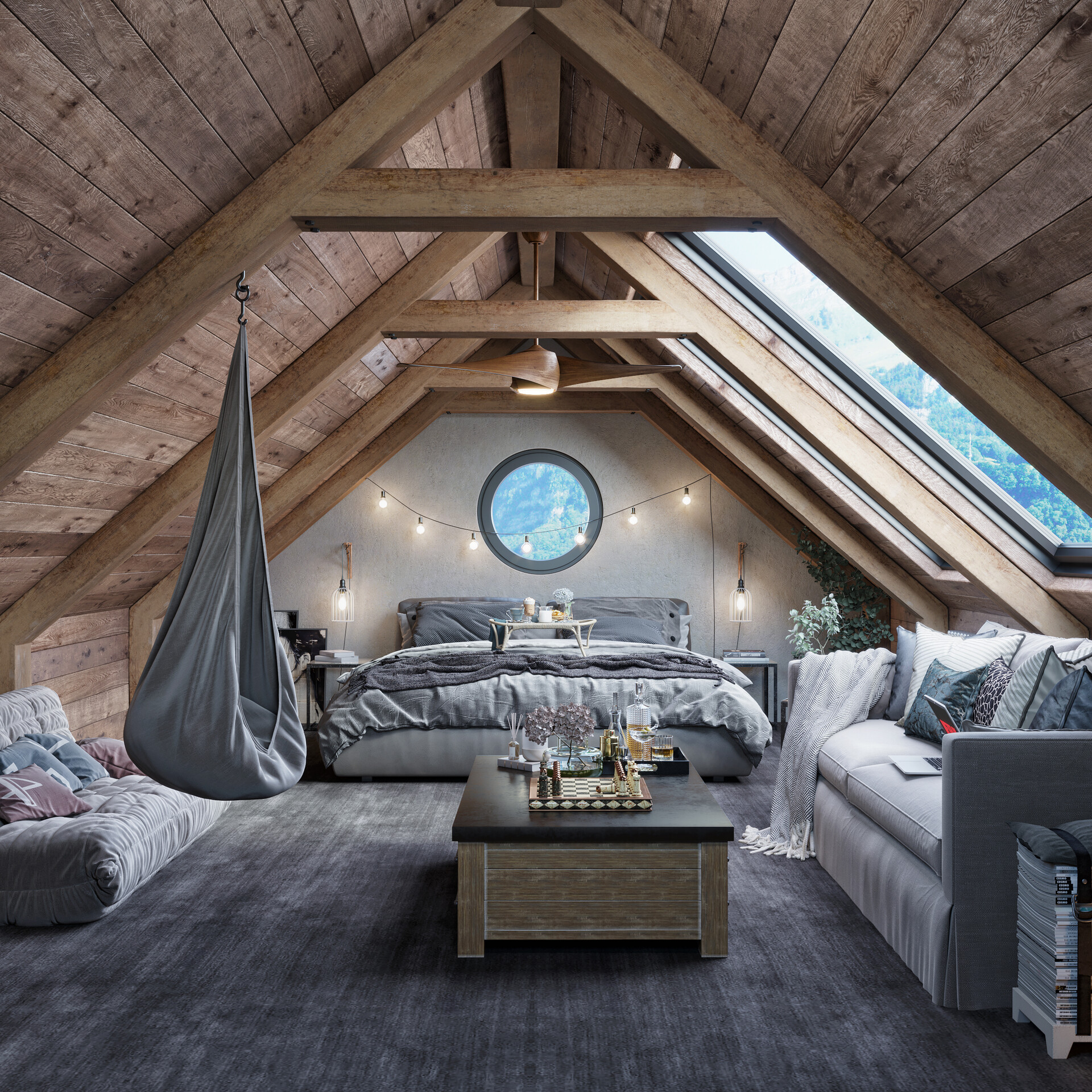 Seating Area for Master Attic Bedroom Ideas