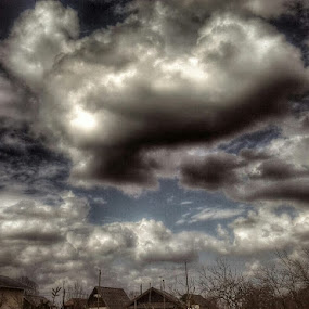 Storm by Nat Bolfan-Stosic - Landscapes Cloud Formations ( clouds, village, strong, storm, small )