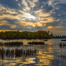 View of the Obolon embankment by Oleg Utyuzh - Landscapes Waterscapes ( sunrays, sunset, riverside, clouds )