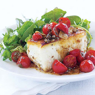 Sear-Roasted Halibut with Tomato & Capers.