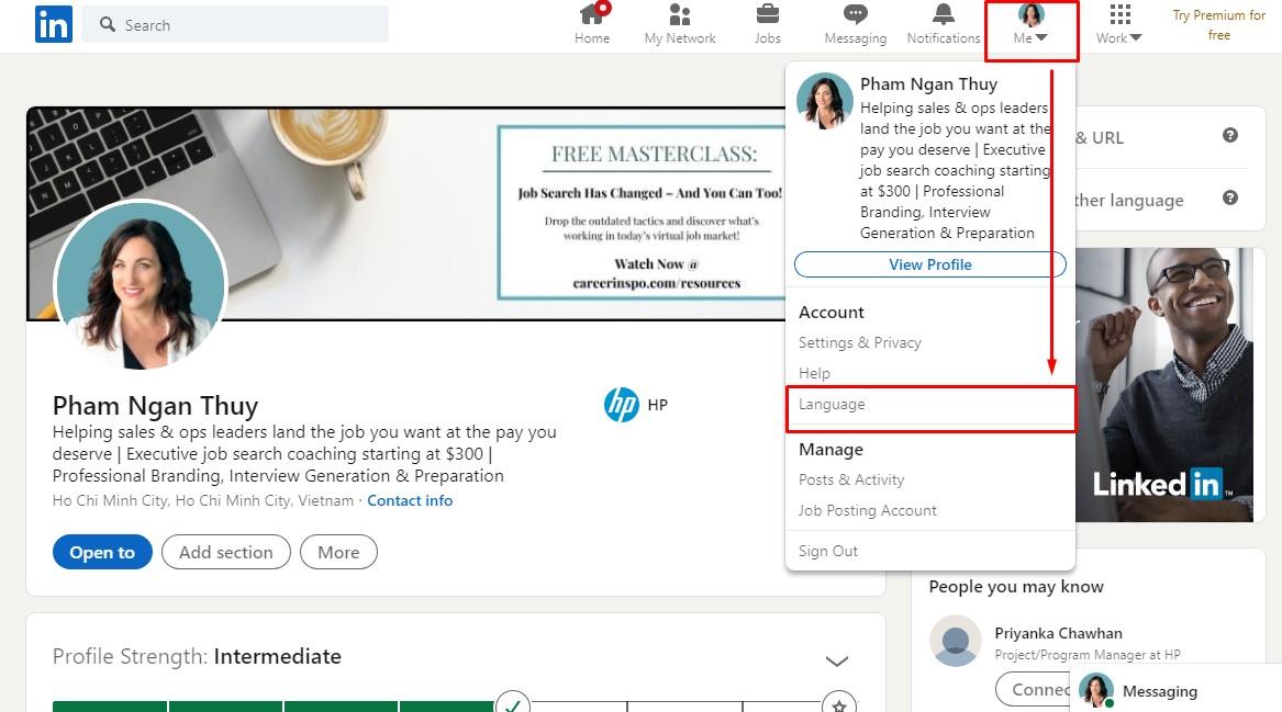 Làm sao để thay đổi ngôn ngữu trên LinkedIn