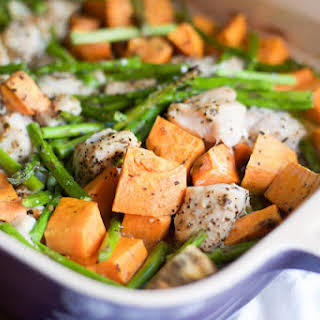 Roasted Chicken with Asparagus and Sweet Potato.