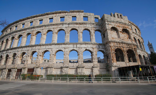 Pula-amphitheater-exterior - The ancient amphitheater at Pula, Croatia.