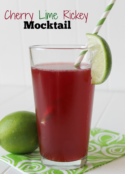 Cherry Lime Rickey Mocktail Recipe - easy and refreshing, this mocktail would make a great sip for a girl's night in, a summer garden party, or even a bridal shower