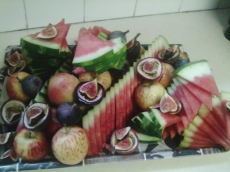 A fruit platter chef Rohin Singh made as a snack for his friends at the Fontainbleau Community Church in Randburg.