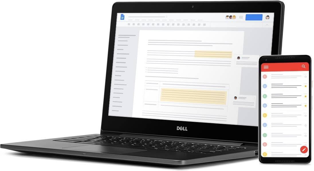 An open Chromebook showing a Google Doc document with active comments and a mobile phone showing emails in Gmail.
