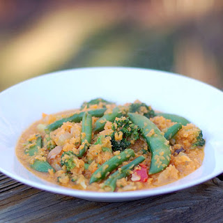 "Thai Red Curry Vegetables with Sweet Potato ""Rice""."