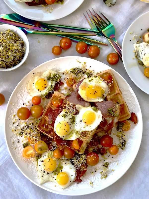 Waffle, Quail Eggs, Bacon And Maple Syrup Lush Recipe