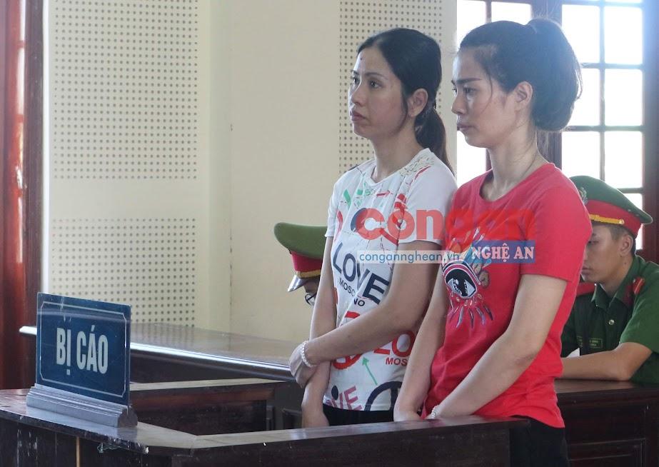 Bị cáo Trần Lệ Mỹ và Nguyễn Thị Hảo tại phiên tòa