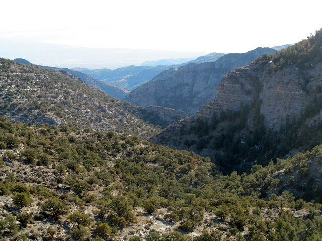 View down the side canyon