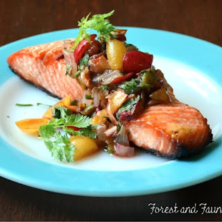 Roasted Wild Plum Salsa over Grilled Salmon