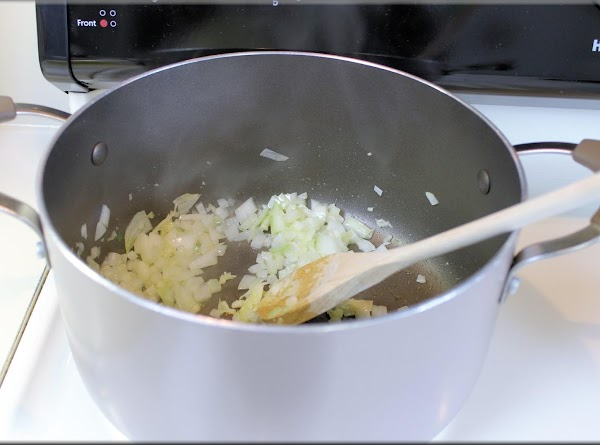 In large soup pot, over medium heat add a little olive oil then add...