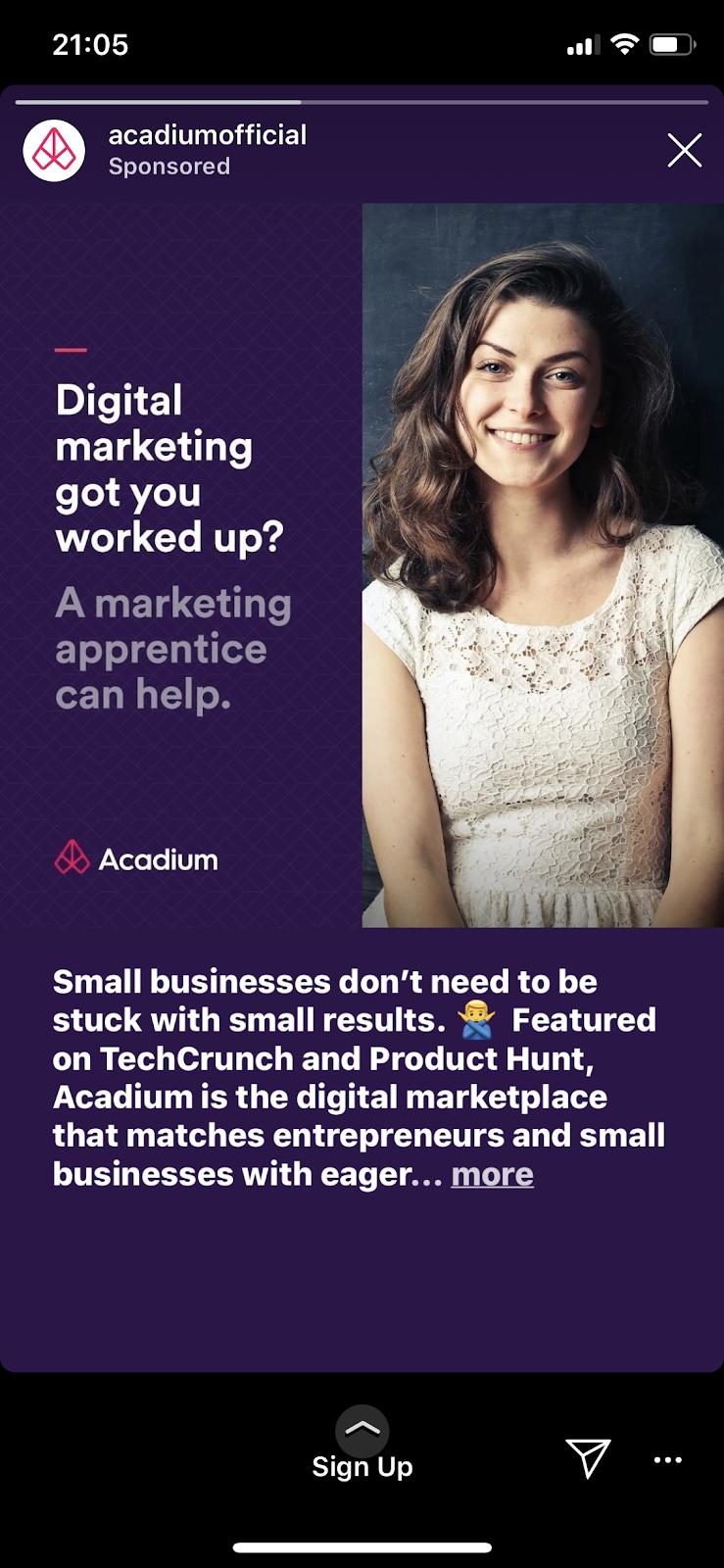 Acadium Instagram story image ad example