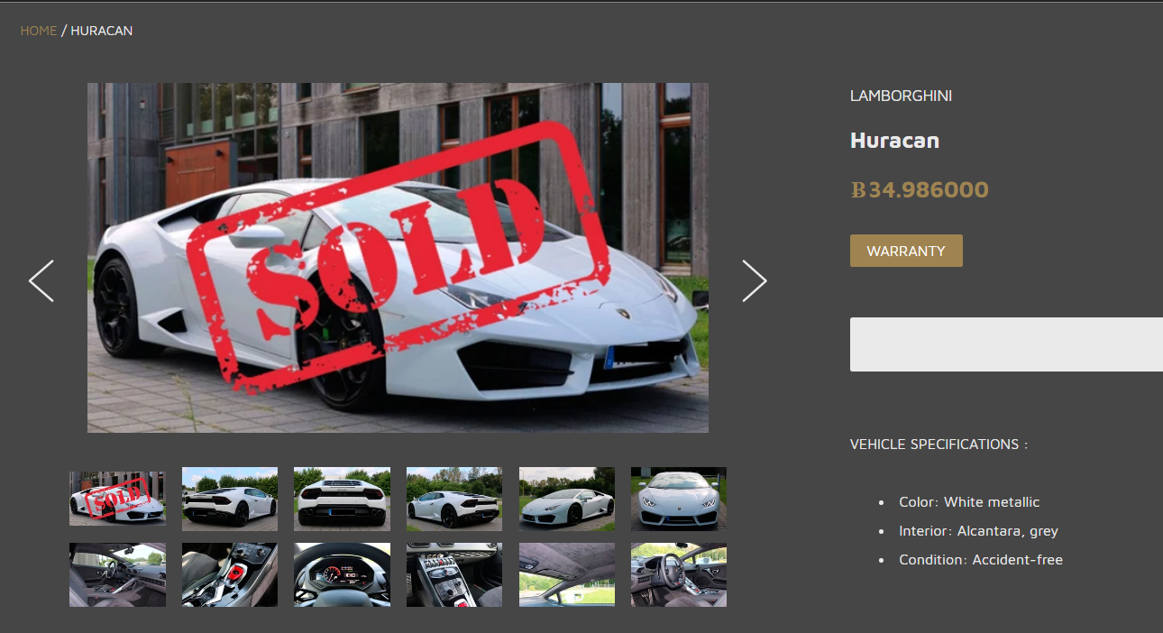 A crypto commerce website shows a photo of a sold Lamborghini.