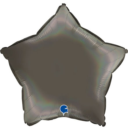 Folieballong Stjärna Rainbow - platinum grey, 46 cm