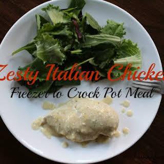 Zesty Italian Chicken - Freezer Crock Pot Meal.