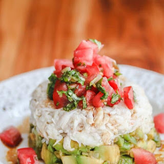 Crab Avocado Tomato Basil Appetizer with Wasabi Soy Dressing