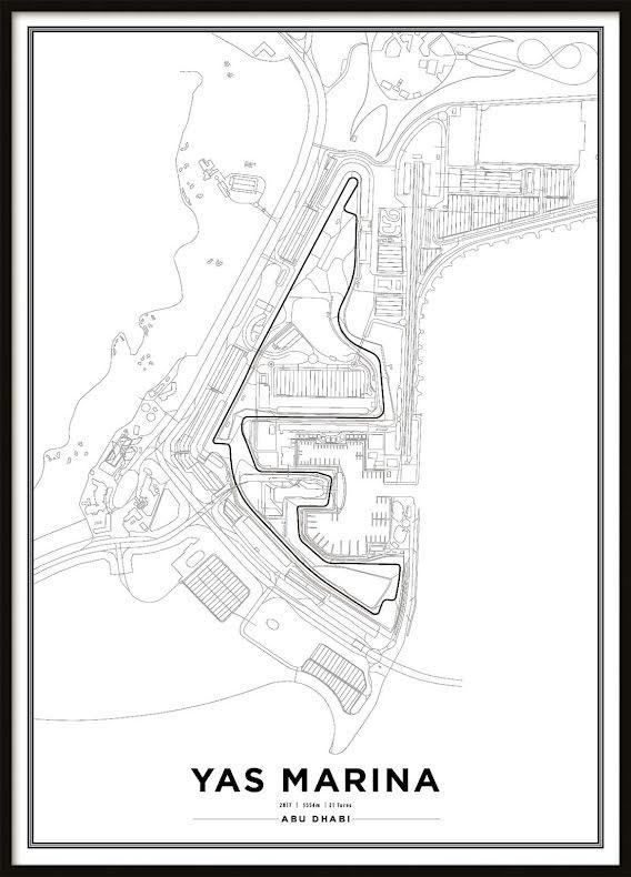 Poster, Yas Marina Circuit Formula 1 Print Vit