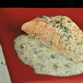Oven Poached Salmon with Dill and Caper Sauce.