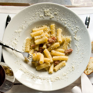 Rigatoni with Pecorino and Crispy Guanciale.