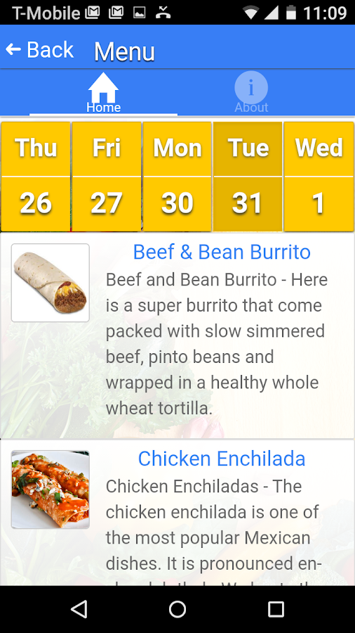 Web Menus for School Nutrition- screenshot
