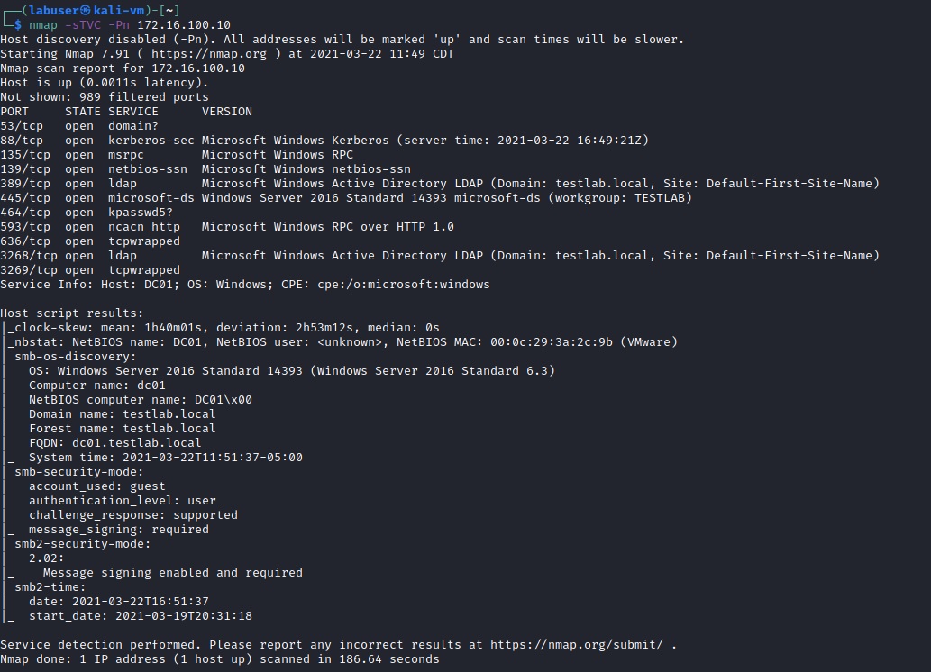 Figure 11 Nmap scan of the domain controller for building a pentesters test lab by a white oak security expert.