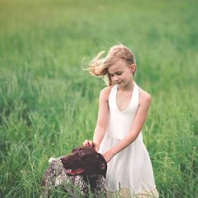 Friends by Tiona Anglin Appel - Babies & Children Child Portraits ( child, girl, color, pet, portrait )