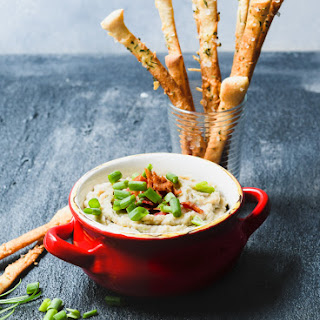 Rosemary Bacon White Bean Dip with Parmesan Breadsticks.
