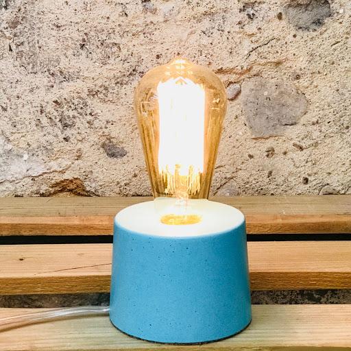 lampe béton design turquoise