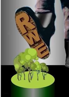Fotomontage: Stiefel mit RWE-Profil zertritt Wald.
