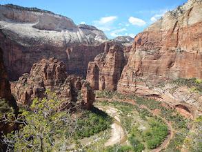 Photo: The Virgin River cuts through Zion Canyon