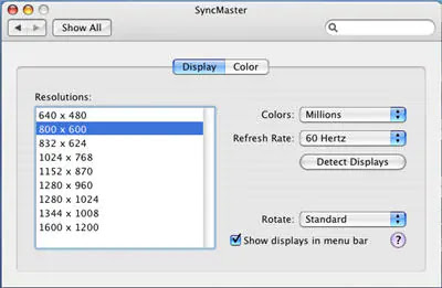 Select display native resolution in macOS