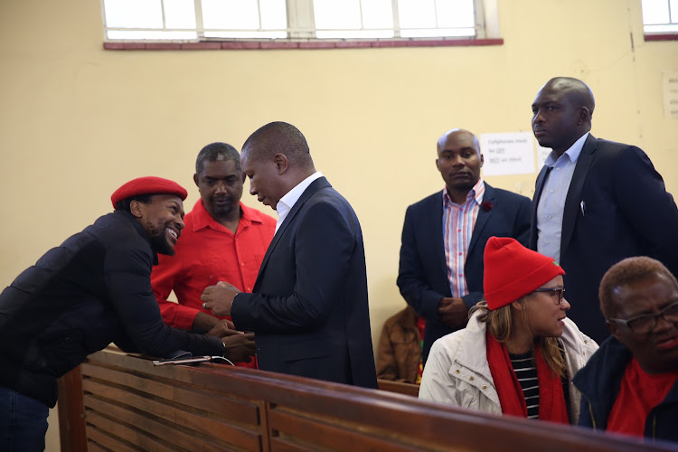 EFF leader Julius Malema talks to his party national spokesman Mbuyiseni Ndlozi before his court appearance