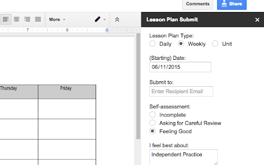Lesson Plan Submit - Google Docs add-on