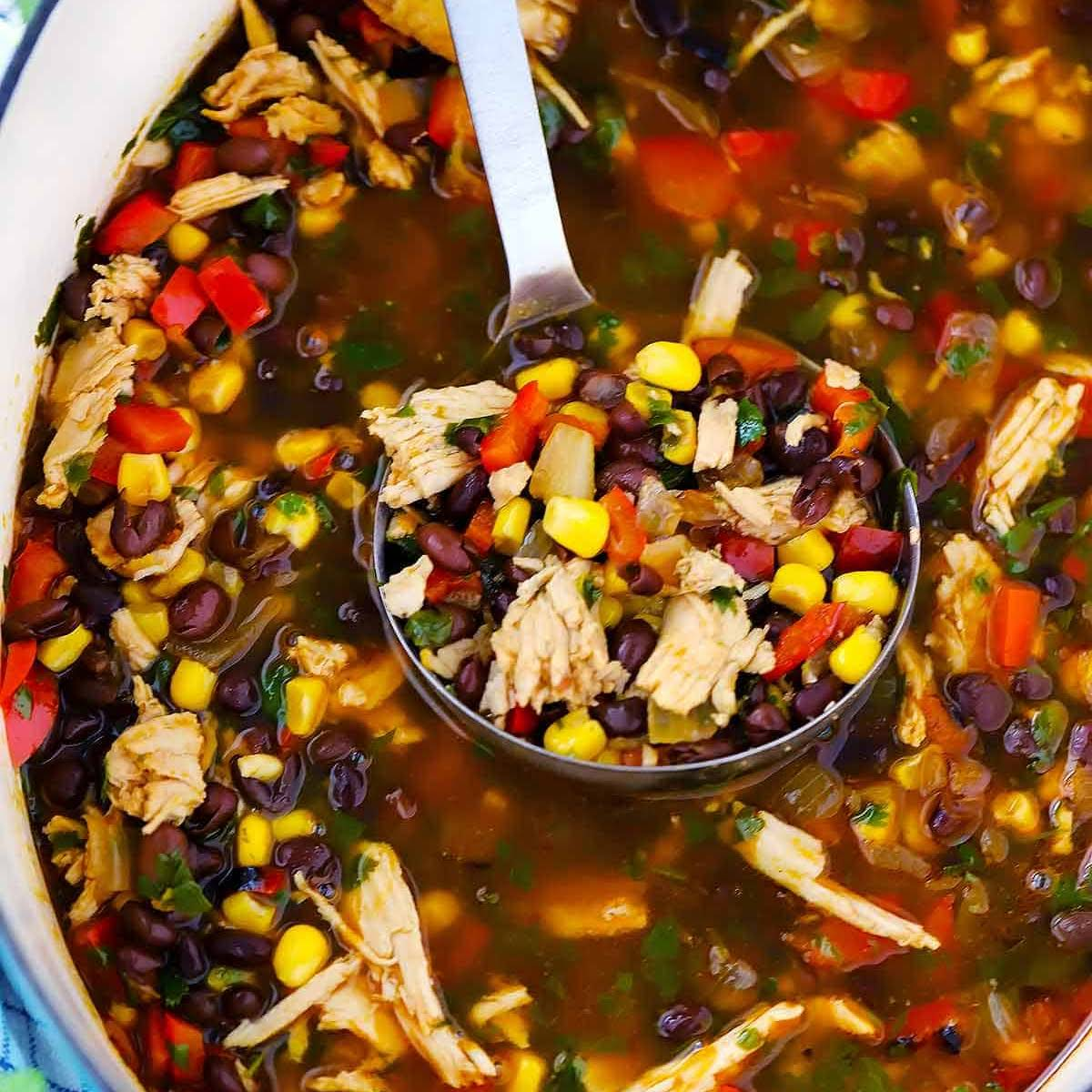 Leftover Turkey Soup with Black Beans and Corn