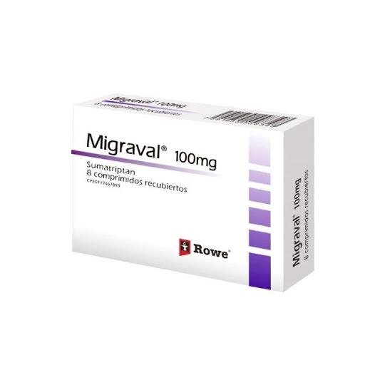 Sumatriptan Migraval 100 mg x 8 Comprimidos Rowe 100 mg x 8 Comprimidos