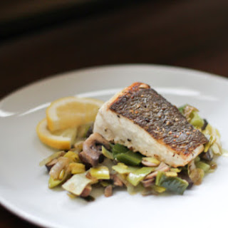 Crispy Halibut with Sautéed Leeks and Mushroom