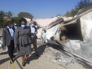 KZN health MEC Nomagugu Simelane-Zulu inspects a hospital that was razed allegedly by members of the community who were not happy that it would treat Covid-19 patients.
