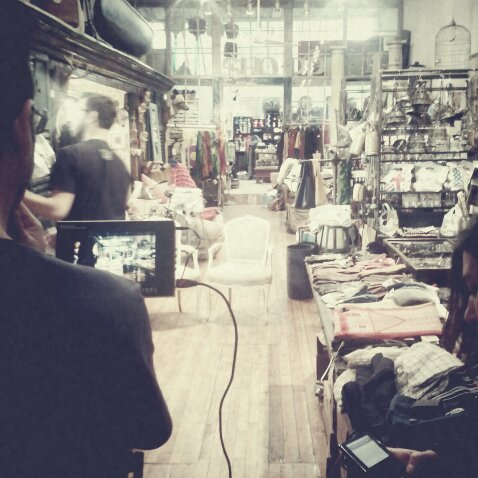 Photo: Another day hard at work -- film shoot for Pink Pin at Loopy Mango in NYC.