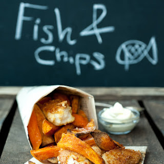Sweet Potato Chips & Almond Crusted Fish