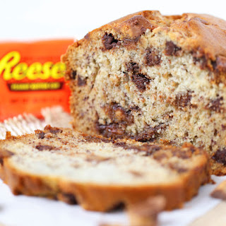Reese's Peanut Butter Cup Banana Bread.