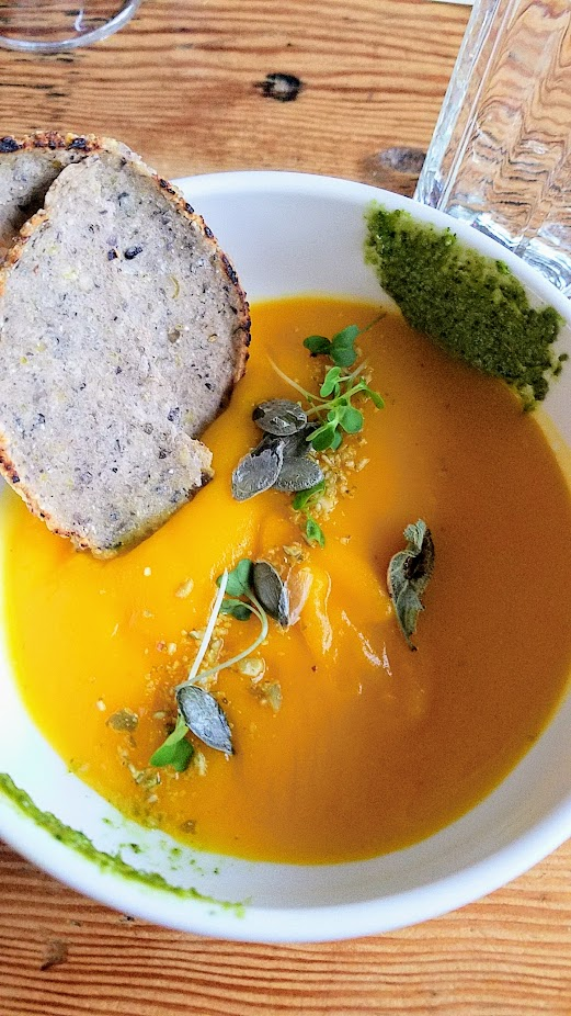 Flavors of Resilience: Indigenous Dinner at Han Oak on October 3, 2017 with Chef Brian Yazzie and Chef M. Karlos Baca, Roasted Pumpkin Bisque with Seneca Ha:gowa Corn Tortillas with Sage and Pumpkin Seed Pesto, paired with sassafras tea